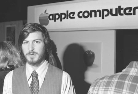 Steve Jobs at an Apple convention.